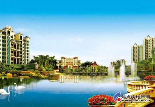均以中央大湖,主题花园,雕塑喷泉,亲水栈道以及数百棵名贵树木组合而