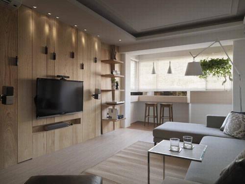 将房子定义为抒压宅,利用木头原色延续户外自然元素,让空间随时充满