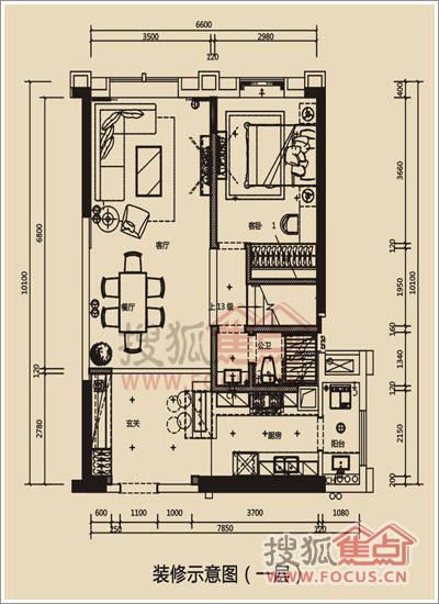 开放式厨房,会客区域大气阔绰,独立经理室,二楼是居家设计,如果主人