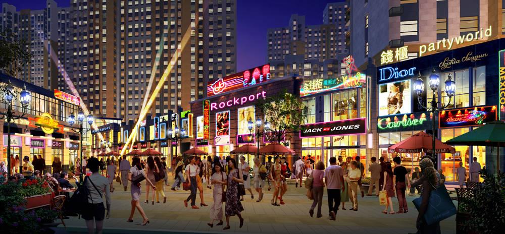 情感依附地 万达商业街,汇聚时尚潮流名品,打造都市商务休闲街区,尽显