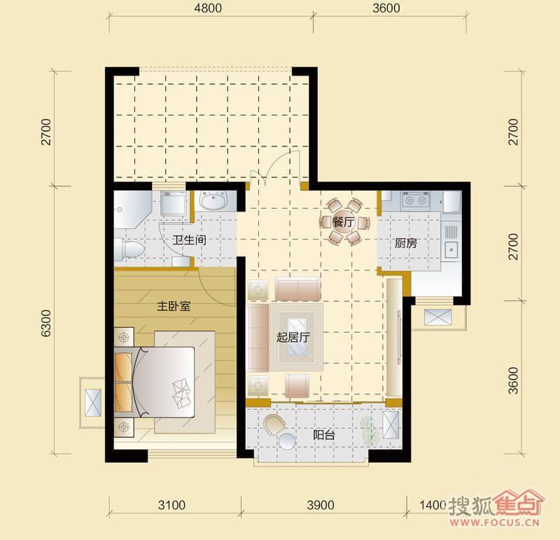 北城世纪城7区颐徽苑9#j户型1室2厅1卫1厨户型图