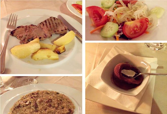 正宗的意大利餐:米兰蘑菇饭、蔬菜沙拉、巧克力冰淇淋、米兰牛扒