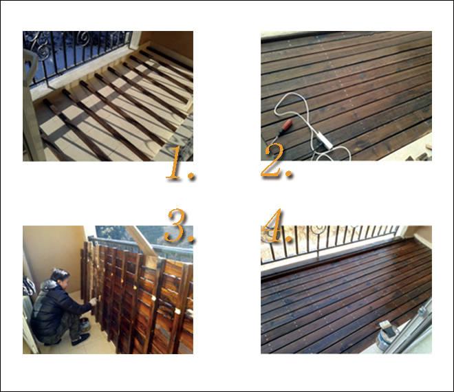梦寐以求一个铺满户外木地板的阳台,由网购的龙骨和户外防腐木地板