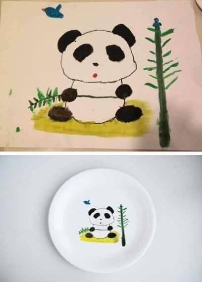 王菲晒女儿李嫣所画大熊猫家居照