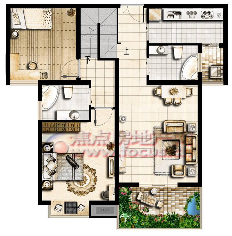 沁水新城3期聚景园2室2厅2卫hlh-24e-e2户型图