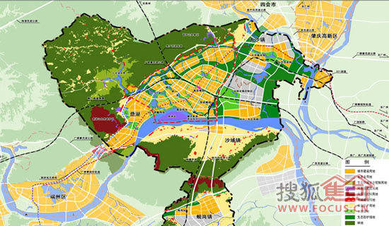 肇庆新区用地结构示意图