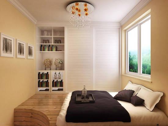 榻榻米床,书桌以及组合柜的搭配,保证了装修的一体性.