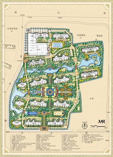 园林手绘六边形节点图平面图