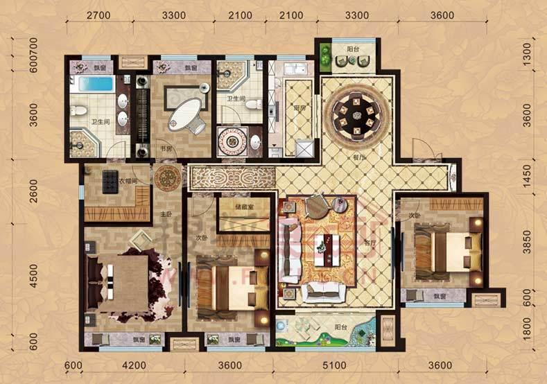 中国铁建国际城9#楼165㎡四室两厅两卫l户型