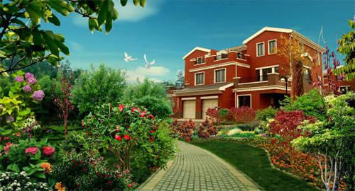 园墅双拼别墅的一大特色就是独有四重庭院