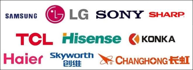 目前,在市场上,最著名的一些电视品牌主要有索尼,夏普,三星,lg,tcl