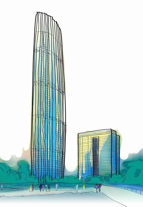 9米的津塔写字楼(手绘图)