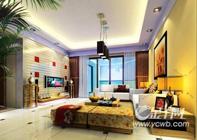 上图:客厅效果图 主要材料钢化玻璃,木地板,桑拿板,抛光砖等 上图:平