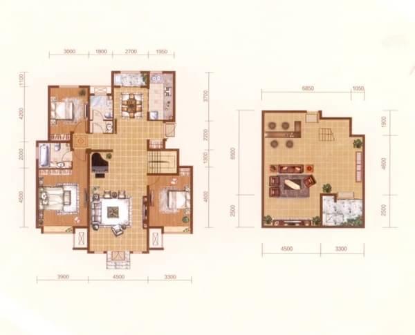 阳光波士顿三室两厅两卫洋房Y1户型图-天津搜