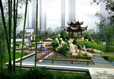 """"""" 凝聚江南园林神韵打造中式项目新高峰当记者问到公园首府的整体规划"""