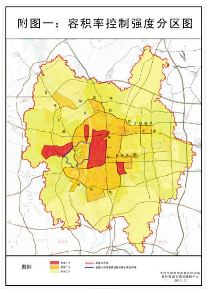 长沙都市区内用地按三级强度分区