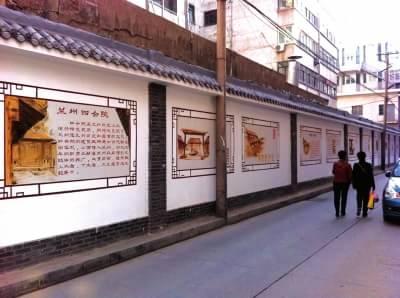 手绘线条图像街巷