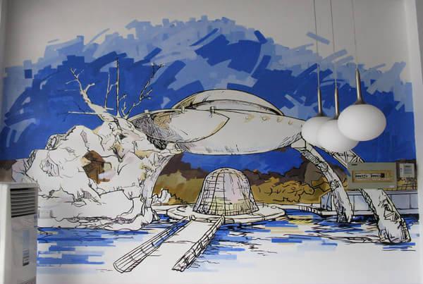 意墙体手绘丙烯画