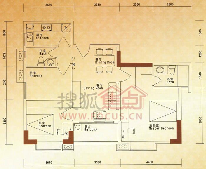 而74㎡以上的戶型主人房設計方正實用,小房則多為長方形設計,空間略顯