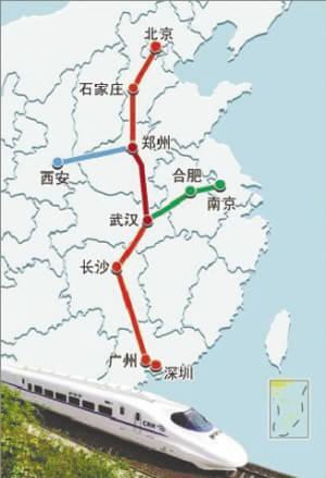 京广高铁线路示意图