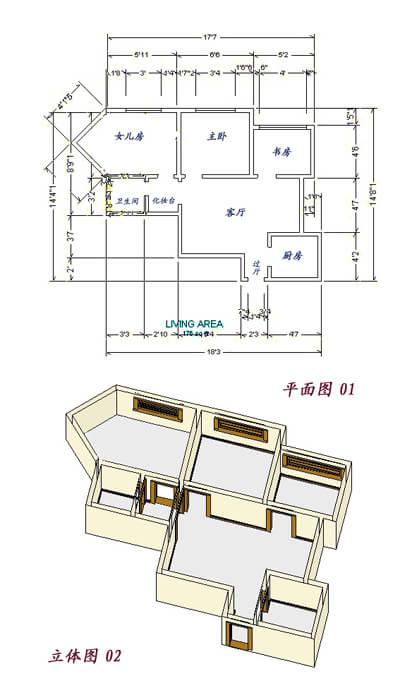 电:客厅,卧室,书房,厨房及卫生间的电路设计.