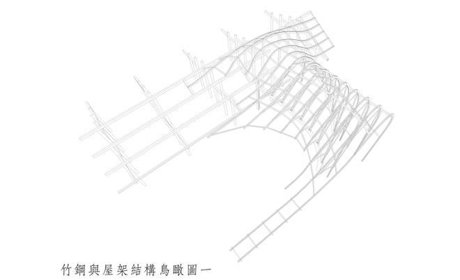 竹钢与屋架结构鸟瞰图