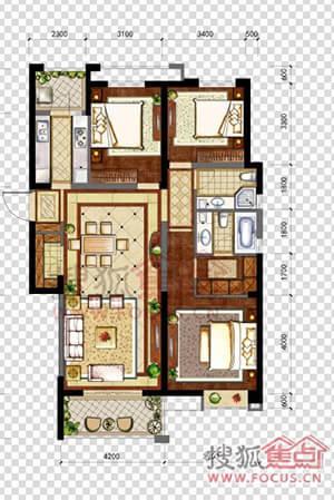 【华润中心凯旋门】b53室2厅2卫140平米户型图