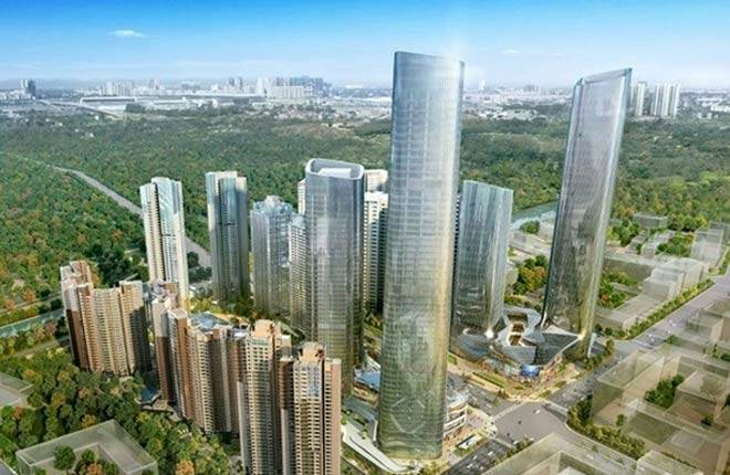 双子塔楼及顶部城市观景