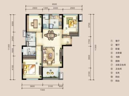 100平米三房户型图